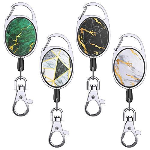 YoungRich 4 PCS Retractable Schlüsselanhänger mit Gürtelclip 27 Zoll Einziehbares Seil Marmor Design 24kg Schwerlast Ausweis Schlüssel,Ausweishüllen Kartenhüllen Ausweishalter Kartenhalter 6.8x3.4cm
