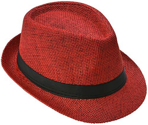 Strohhut Panama Fedora Trilby Gangster Hut Sonnenhut mit Stoffband Street Style (54, Rot (Strohhut))