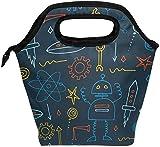 Bolsa de almuerzo Dibujado a mano Robot Rocket Nave espacial Azul marino Fiambrera aislada Bolsa térmica portátil Contenedor de alimentos Enfriador Reutilizable
