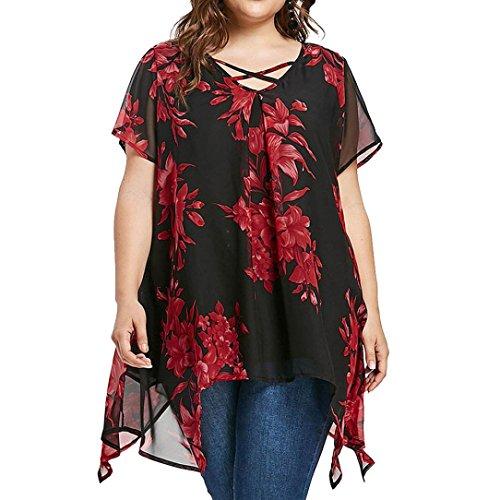 FAMILIZO Camisetas Mujer Verano Tallas Grandes XL~5XL Blusa Mujer Elegante Camisetas Mujer Manga Corta Gasa Camisetas Mujer Fiesta Floral Camisas Mujer Elegantes Largo (2XL, Negro)