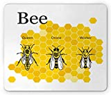 Ambesonne Queen Bee Mouse Pad, Computer Graphical Educational Drawing of Queen Drone and Worker, Standard Size Rectangle Non-Slip Rubber Mousepad, Earth Yellow Grey and White