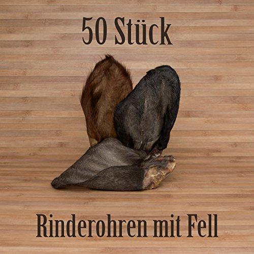 50 JUMBO Rinderohren mit Fell Kausnacks Kauartikel - wie Schweineohren Rinderkopfhaut