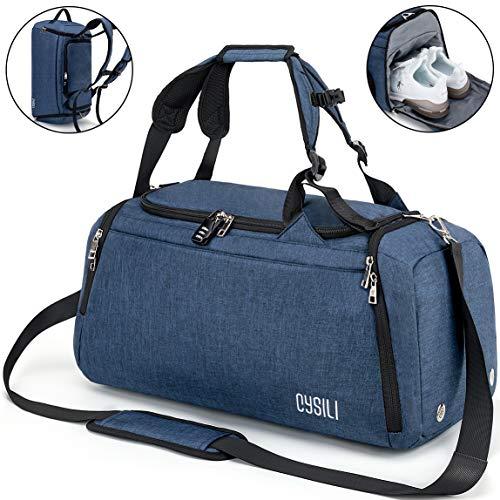 CySILI® Reisetasche Sporttasche mit Rucksack-Handgepäck mit Schuhfach - Nassfach & Zahlenschloss - Männer & Frauen Fitnesstasche - Tasche für Sport, Fitness,42L Gym - Travel Bag & Duffel Bag (Blau)
