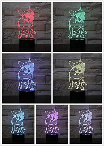Dog Bulldog Table Lamp Bedside 3D Illusion Room Decor Table Lamp Child Baby Kit Tom and Jerry Dog Speike Table Lamp LED
