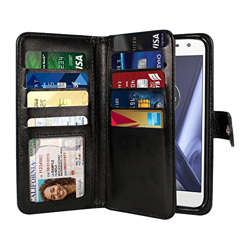 NEXTKIN Case Compatible with Motorola Moto Z Play 2016 Droid XT1635, Leather Dual Wallet Folio TPU Cover, 2 Large Pockets Double Flap, Multi Card Slots Snap Button Strap for Droid XT1635 - Black