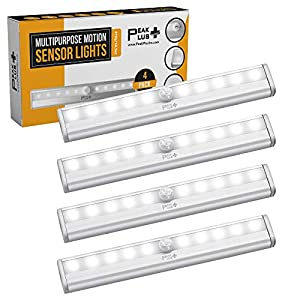 LED Motion Sensor Light 10 LED Battery Operated Lights, LED Under Cabinet Lighting, Stick On Lights, Magnetic Wireless Motion Sensor Night Light for Closet, Counter, Stairway (4 Pack) by PeakPlus