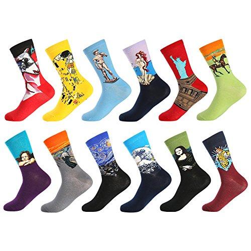 BONANGEL Calcetines Christmas Hombre, Hombres Ocasionales Calcetines Divertidos Impresos de Algodón de Pintura Famosa de Arte Calcetines, Calcetines de Colores de moda