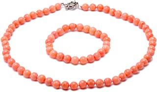 JYX Corals Jewelry Set Coral Necklace Bracelet 8mm Light Pink Sea Bamboo Coral Jewelry for Women