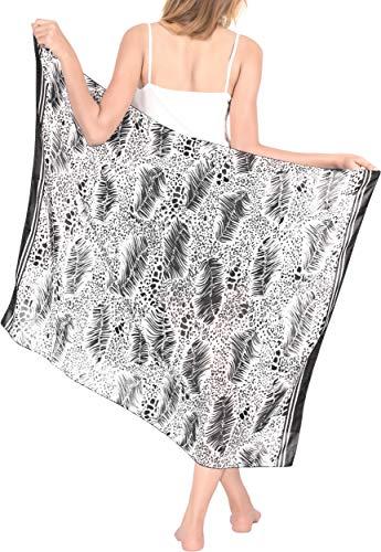 LA LEELA Bufanda para Cubrir la Cara Plumas Playa Pareo Abrigo de la Bufanda de Las Mujeres Impreso Alineada Escarpada Falda de Encubrir Envoltura de usos 43'X32' Ghosts Blanco_Y75