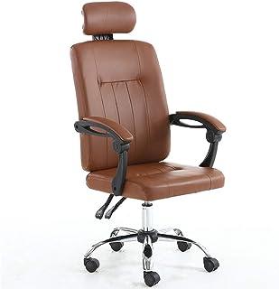 Oficina Silla giratoria PU de la silla de cuero de escritorio, silla de la computadora de respaldo alto, silla de trabajo giratoria ajustable PC Racing ergonómico Ejecutivo, Cuero reclinable del asien