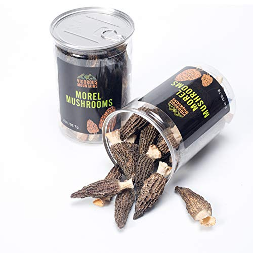 VIGOROUS MOUNTAINS Wild Dried Morel Mushrooms 2 Ounce Morchella Conica 3-8cm Size Sealed Jar Premium Grade AAA