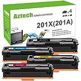 Aztech Compatible Toner Cartridge Replacement for HP 201X 201A Color Laserjet Pro MFP M277dw M252dw M252n M277n M277c6 Ink CF400X CF400A CF401X CF402X CF403X Toner (Black/Cyan/Yellow/Magenta, 4-Pack)