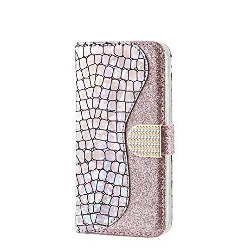 Ttimao Kompatibel mit Huawei P20 Hülle Prämie Glitzer PU Leder Portemonnaie Flip Case Magnetverschluss Kartenfach Standfunktion Stoßfest Schutzhülle-Silber