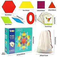 Lewo 230 Pezzi Blocchi di Legno Puzzle di Legno Classico educativo Giocattoli Montessori Set di Tangram per Bambini #5