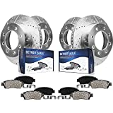 Detroit Axle - 4WD 331mm Front & 326mm Rear Drilled Slotted Rotors and Pads Replacement for Ford Excursion F-250/350 Super Duty - 8pc Set