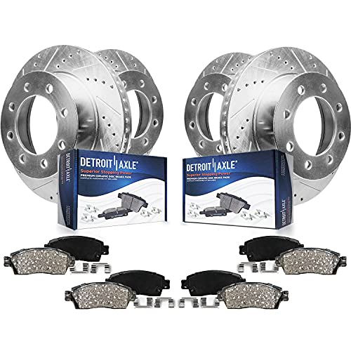 Detroit Axle - 4WD 331mm Front & 326mm Rear Drilled Slotted Rotors + Ceramic...