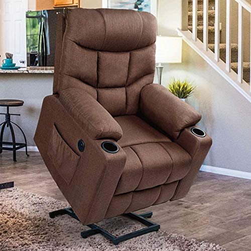 Esright Power Lift Chair Electric Recliner for Elderly Heated Vibration Massage Fabric Sofa Motorized Living Room Chair with Side Pocket and Cup Holders, USB Charge Port&Massage Remote Control, Brown