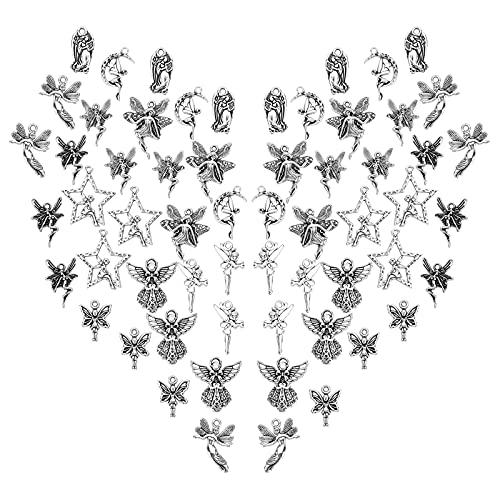 SUNNYCLUE 1 caja de 60 colgantes de 10 estilos, estilo tibetano, alas de aleación, diseño de estrella de hada, luna y colgante hueco para hacer joyas, suministros de manualidades, plata envejecida