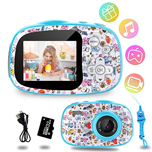 BJLBOJEY Kinder Kamera, 12MP 1080P HD Video Digitalkamera für Kinder, 2,0 Zoll-Display mit 32GB TF-Karte,MP3/MP4/Spiele,Fotoapparat Kinder Geschenk für 4-12 Jahre alte Jungen und Mädchen, Blau02