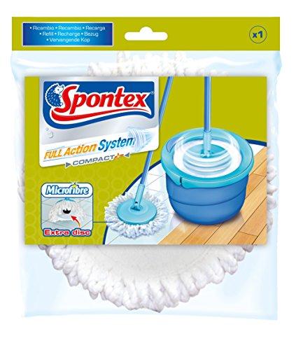 Spontex - Recharge Full Action System Plus- Recharge à Franges Microfibre pour Kit Balai Full Action System - Lavable et Réutilisable - 1 Recharge