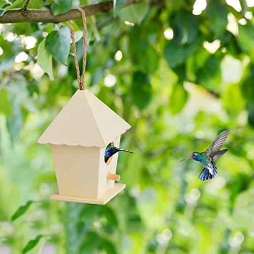 DEDEA Wooden Bird Feeder, Hanging Pet Bird House Seeds Food Container, Feeding Holder, Outdoor Garden Home Yard Decoration