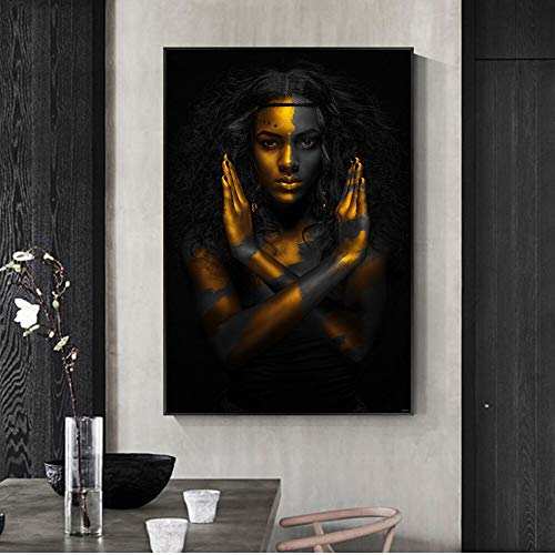 tzxdbh Maquillaje Dorado Home Wall Art Impresiones de Lienzo Sexy Black Girls Pop Art Canvas Paintings Imágenes de Pared africanas para la decoración de la Sala de Estar