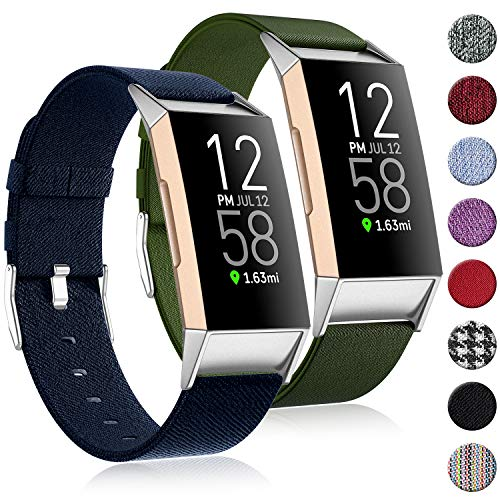 (2 Pack) Witzon Fabric Woven Bands Compatible with Fitbit Charge 4 / Charge 3 / Charge 3 SE, Breathable Canvas Replacement Straps Wristbands Accessories for Women Men, Navy Green, Large