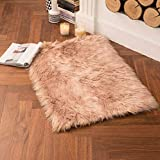 SAHEJ Online-Super Soft Faux Sheepskin Washable Carpet Warm Hairy Seat Pad,Fluffy Rugs, Faux Fur Mats for Floor, Chairs,Sofas, Living Room, Bedroom (Camel)