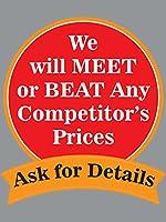 Will Meet or Beat Competitorsの小売ディスプレイサイン、幅18インチ×高さ24インチ - 5パック