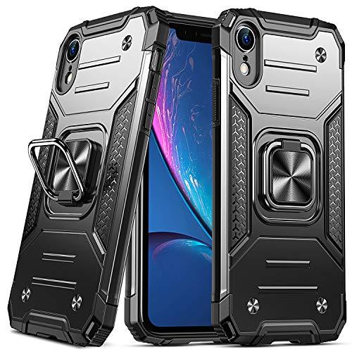 DASFOND Coque Compatible avec iPhone XR, Housse de Protection de Qualité Militaire, Etui avec Béquille Améliorée [Support Magnétique], Noir