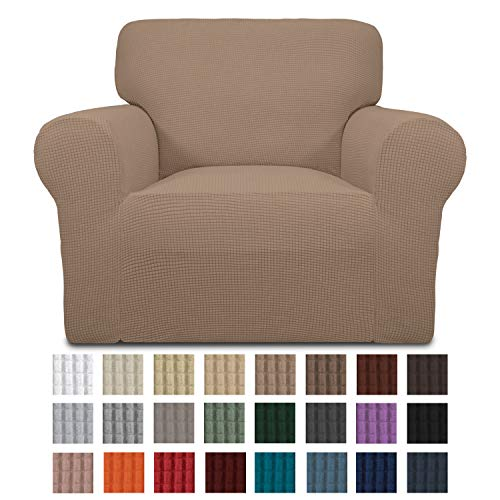 Easy-Going Stretch Chair Sofa Slipcover 1-Piece Couch Sofa Cover Furniture Protector Soft with Elastic Bottom for Kids. Spandex Jacquard Fabric Small Checks(Chair,Camel)