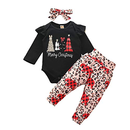 Geagodelia Vestito Natale Neonata 3 Pezzi Completo Neonata Pagliaccetto Manica Lunga Albero di Natale+Pantaloni Leopardati+ Fascia per Capelli Abito Bambina di Natale 0-24Mesi (Nero, 18-24 Months)