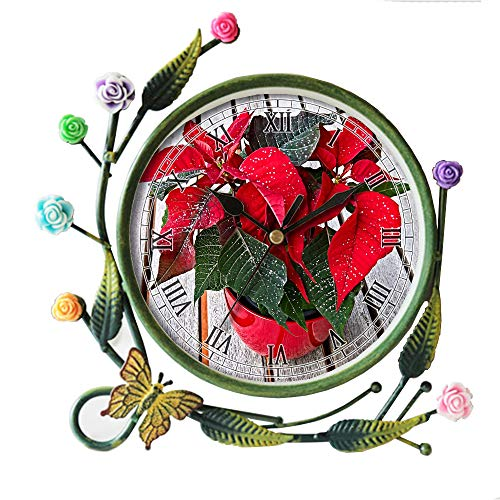 girlsight Wohnzimmer Schmetterling Blume Blatt Dekorative Quarz, Eisen Kunst Analog Große Ziffern Nachttisch Tischuhr -323.Adventsstern Poinsettia-Pflanze mit Glitzeranbau