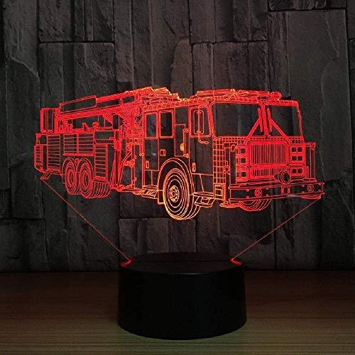 Dormitorio Luz de noche 3D USB Bomberos Iluminación Lámpara de escritorio 7 colores que cambian Camión de bomberos Coche Decoración para dormir Regalo para niños