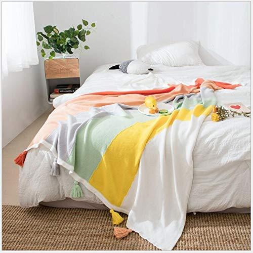 FUFU Mantas y mantitas Kid arco iris manta hecha punto suave tiro mantas de algodón for el bebé del niño de la muchacha del muchacho, manta de punto con la borla lindo colorido for la cama del cocheci