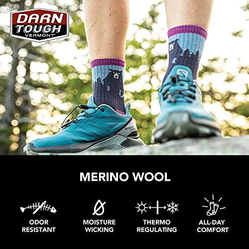 Darn Tough Women's Bear Town Micro Crew Lightweight with Cushion - Medium Lime Merino Wool Socks for Hiking