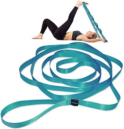 SANKUU 12 Loops Yoga Stretch Strap for Physical Therapy with Exercise Instruction Blue product image