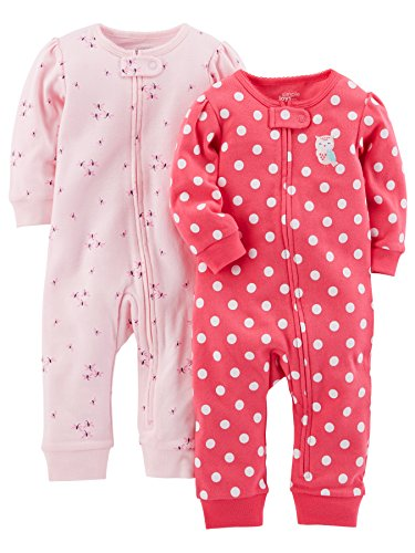 Simple Joys by Carter's 2-pack Cotton Footless Sleep and Play Footie, Pink Dragonfly/Dot, 6-9 Months