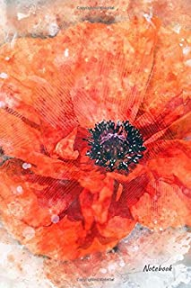 Notebook: Lined poppies notebook, journal. 6
