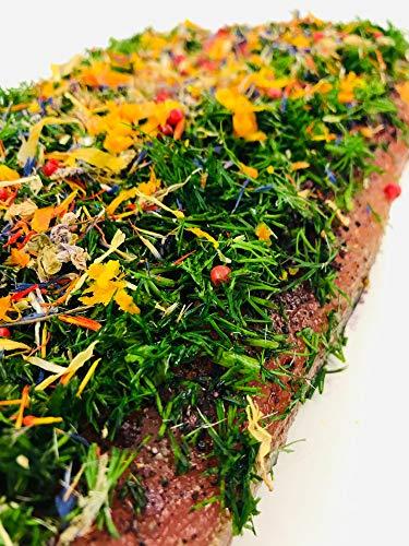 Graved Lachs Nordic Spring mit Aquavit, nordischen Gewürzen und frischem Dill ✔ Mit frischen Kräutern und Bio Zitrusfrüchen in eigener Manufaktur hergestellt