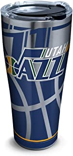 Tervis NBA Utah Jazz Paint Stainless Steel Insulated Tumbler with Clear and Black Hammer Lid, 30oz, Silver