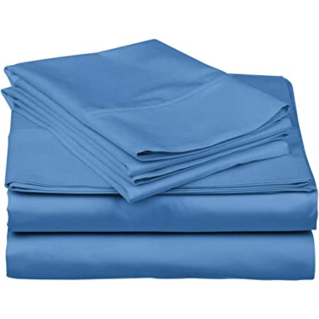 1000 Thread Count 100 Pure Cotton Bed Sheets 4 Pc Cal King Size Light Blue Sheet Set Single Ply Long Staple Combed Cotton Yarns Best Luxury Sateen Weave Fits Mattress Upto 18