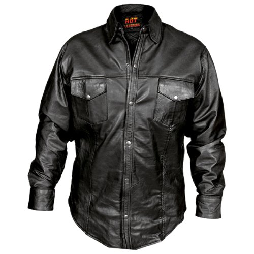 Black Leather Shirt for Men