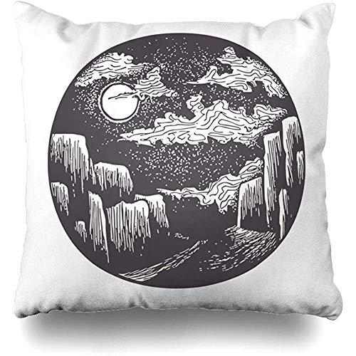 Kussenhoes, maan, verlicht, voor straat, beha, nacht, park, canyon, cirkels, klassiek, Falaise Wolken