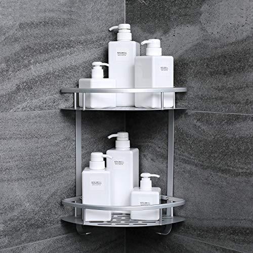 Evaduol Duschregal Ohne Bohren Duschablage - Dusche Eckregal Badregal mit Haken und 2 Ebenen, Selbstklebend, Space Aluminium und Mattes Finish Duschkorb Duschregal Beschädigungsfreie Installation (2)