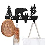 CoolPlus Coat Hooks Wall Mounted Entryway Dog Leash and Key Holder Clothes Hat Rack and Backpack Hanger Cabin Decor Metal Mural Art Bear Pattern Black Finish