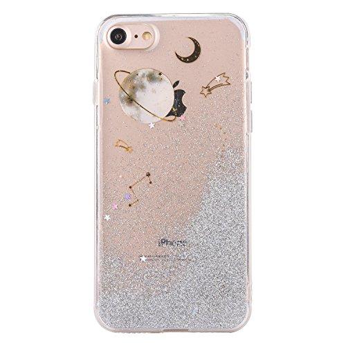 CrazyLemon Hülle für iPhone 7 iPhone 8, 3D Schön Epoxy-Prozess Bling Funkeln Grau Sternenhimmel Galaxis Star Mond Planet Weich TPU Hülle für iPhone 7 iPhone 8 - Grau