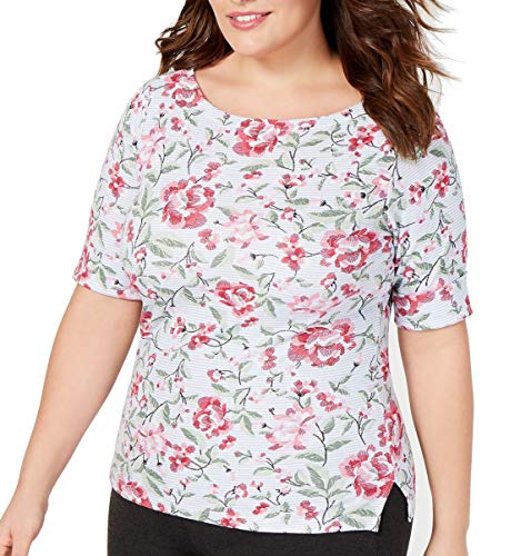 Karen Scott Women's Tops Plus Knit Floral-Print Striped Pink 2X