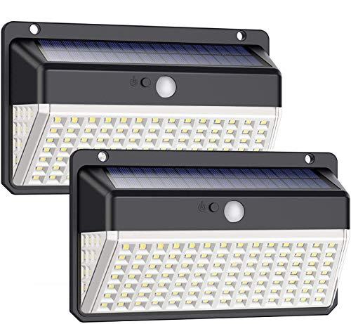 Luz Solar Exterior 118 LED, Trswyop Versión Impermeable Foco Solar Exterior con Sensor de Movimiento Gran Ángulo 270º Inalámbrico Lámpara Solar con 3 Modos Inteligentes para Jardín 2 Paquete