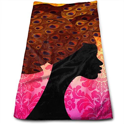 YudoHong Boda Africana Peinado Envoltura de la Cabeza Bufanda Colorida para la Cabeza Hermoso Retrato Mujer Afro en la Cabeza Tradicional Pañuelo Pañuelo Turbante en Textura de Pavo Real